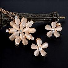 משלוח חינם זהב מלא האוסטרי קריסטל ריינסטון קלאסי חלול שרשרת תליון עגילי תכשיטי סטי חתונה כלה(China)