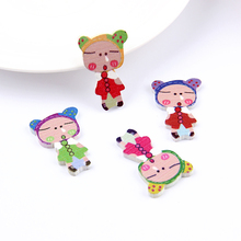Buy New Arrival 33*21mm 50pcs Mixed Color Random Sleeping Girls Wooden Buttons Holes Sewing Craft Scrapbooking Garment for $1.22 in AliExpress store