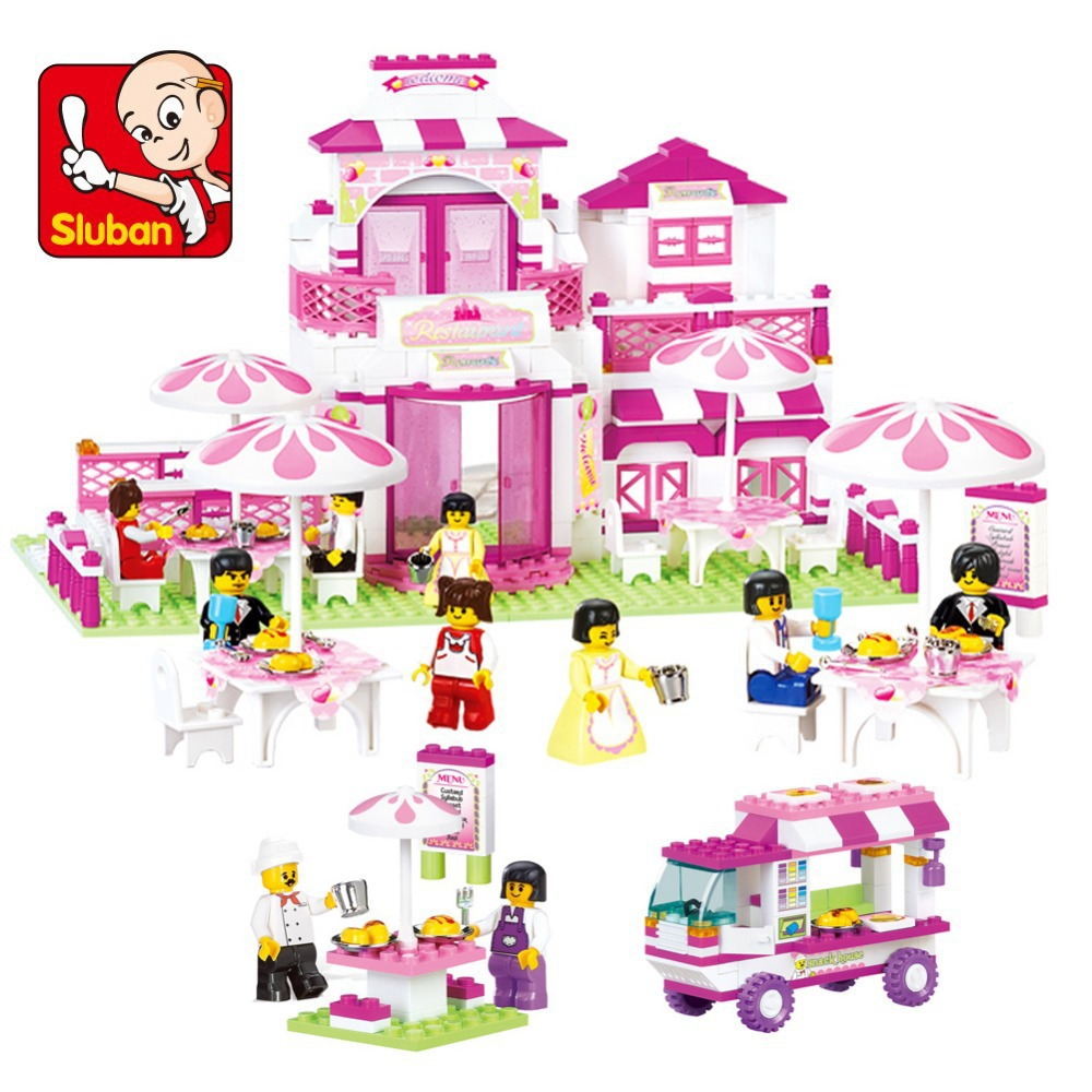 Simple Package Sluban M38-B0150 Building Blocks Set learning educational bricks DIY cube construct pink house car toys pink(China (Mainland))