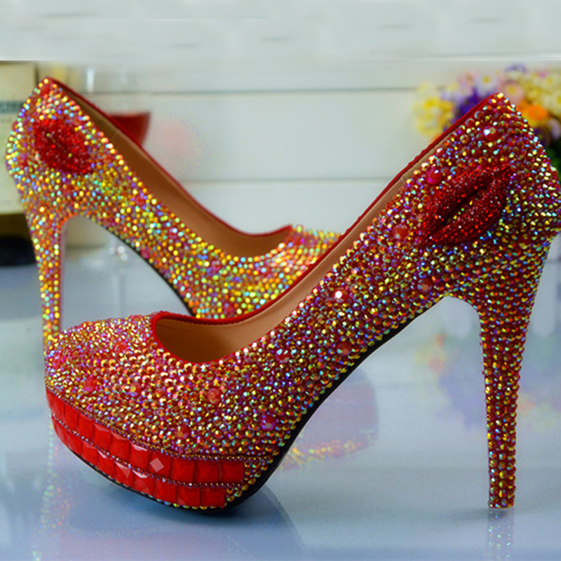 Newest High Heels Bridesmaid Bridal Shoes Rhinestones Red Lady Shoes for Wedding Party Ball Prom Pageant Event<br><br>Aliexpress