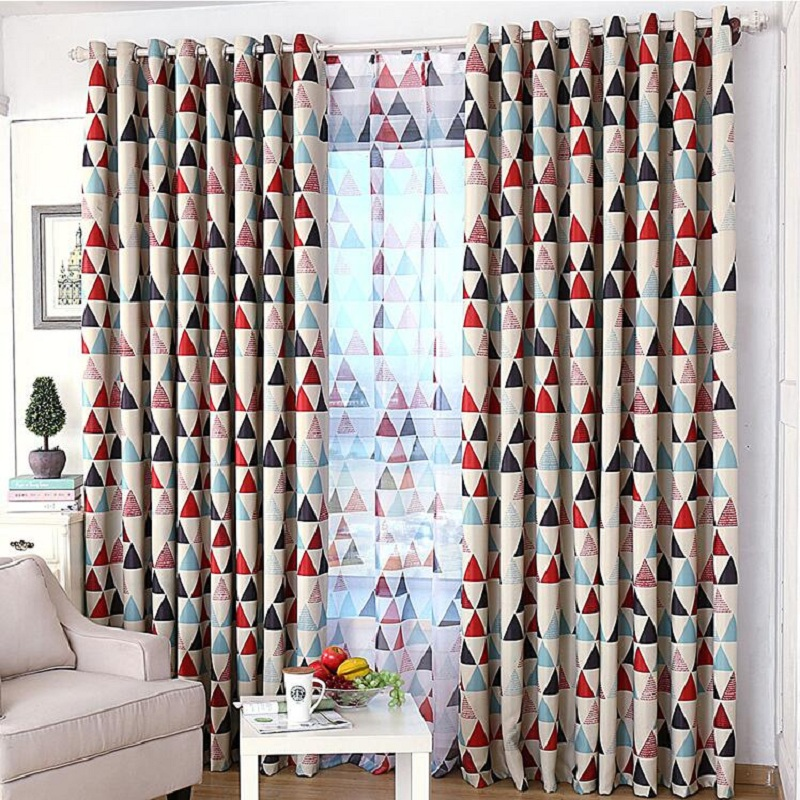 Quality graphic geometric patterns curtain fabric floor red green simple style anti- sunlight curtain DS041#30(China (Mainland))