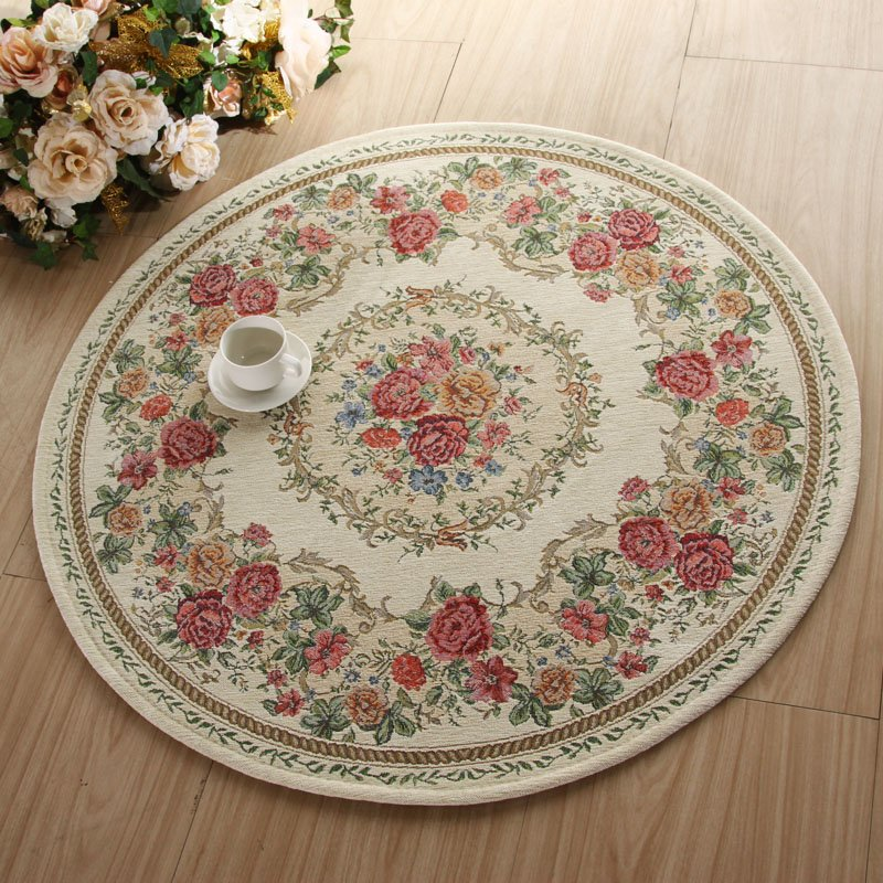 Round Carpet For The Living Room Bedroom Floor Euro Chic Floral Mat Rug Shagg