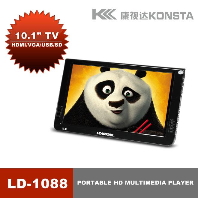 Hot Sale! 10'' dvb-t2 Portable digital tv media player, support VGA input, with USB and SD full HD movies mov mkv avi 3gp TV(China (Mainland))