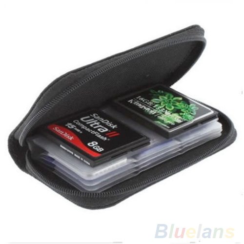 Black SD SDHC MMC CF Micro SD Memory Card Storage Carrying Pouch Case Holder Wallet 1DS7
