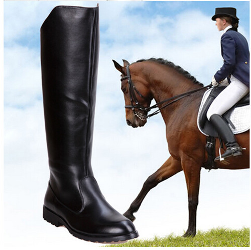 2015 Winter New Fashion Round Yoe Martin Riding Boots Mens Military Leather Knee High Equestrian Motocycle Black