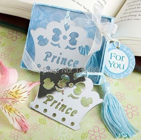 200pcs/lot Prince crown shaped stainless steel bookmark with Blue for Baby Shower Party Favors(China (Mainland))