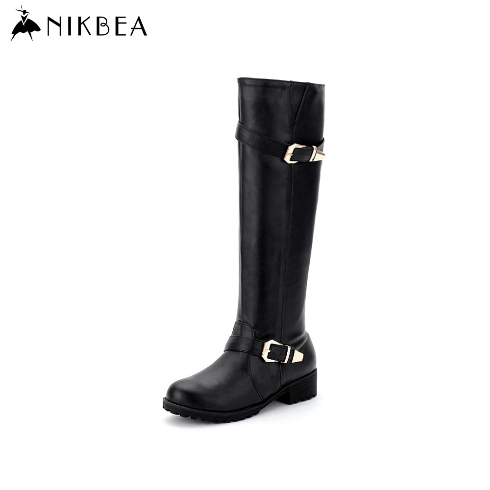 2016 Nikbea Knee High Boots Women Riding Large Size Pu Leather Booties Thigh High Boots Flat Winter Black/white Long Boots(China (Mainland))