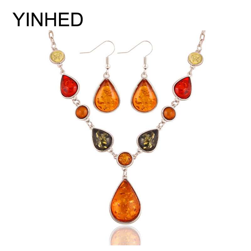 Luxury Multicolor Natural Crystal Stone Water Drop Jewelry Sets White Gold Plated Fashion Necklace Earrings Set for Women ZS25(China (Mainland))