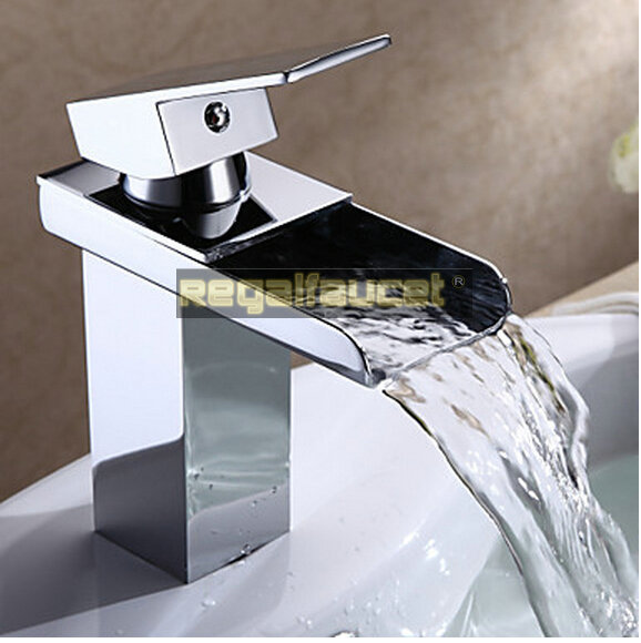 Bathroom Sink Materials : Waterfall Bathroom Sink Mixer Tap Faucet Chrome Finish Brass Material ...