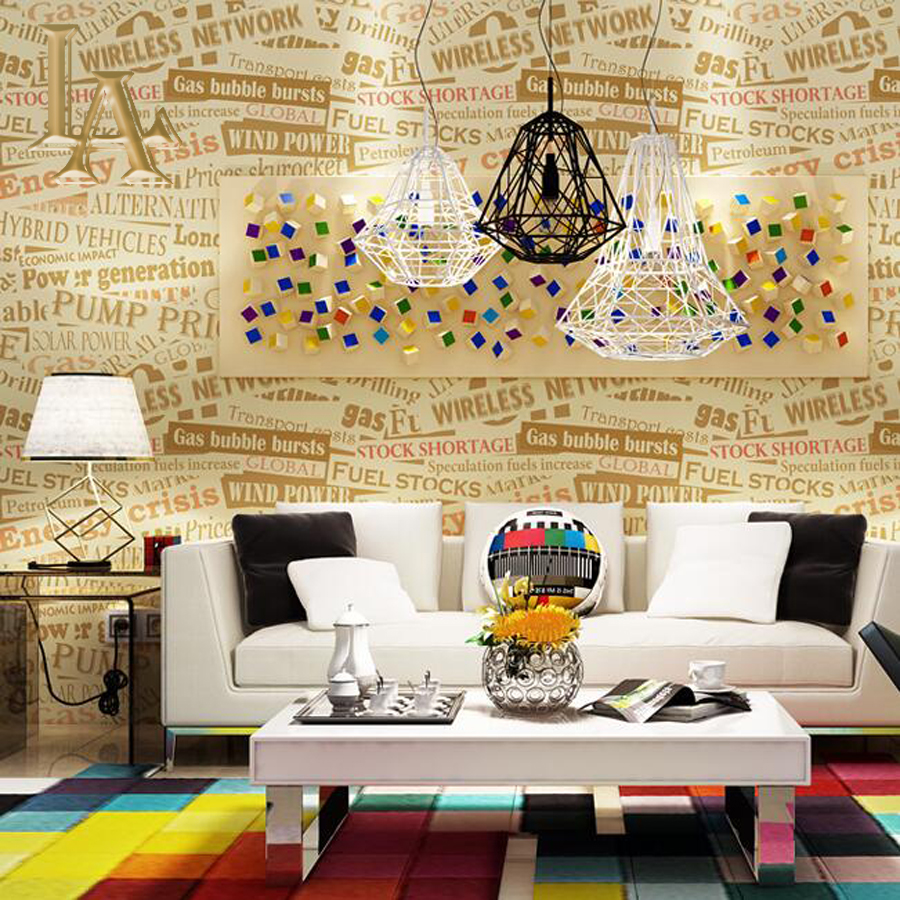 Fashion simple graffiti striped letters wallpaper modern for Living room 6 letters