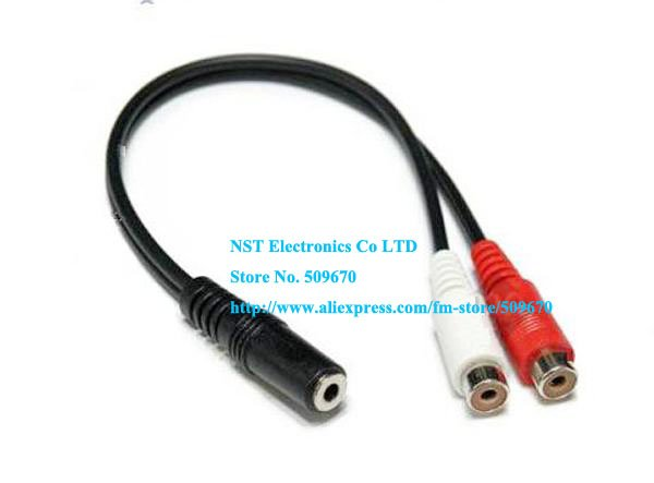 Free shipping/10pcs/ High Quality TWO RCA Female to stereo 3.5mm Female Y splitter cable New(China (Mainland))