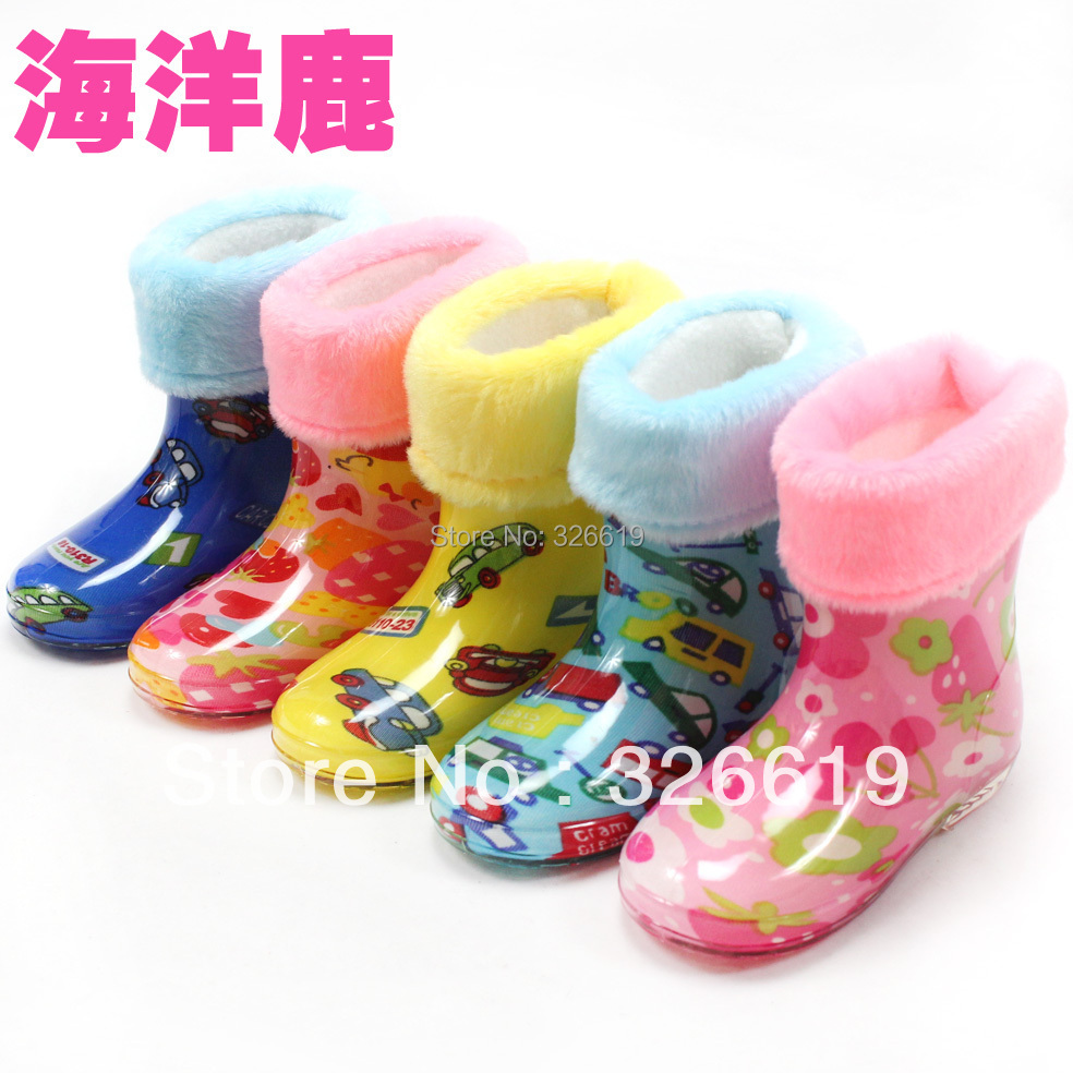 Free shipping child rain boots baby rainboots winter thermal plus velvet liner cotton water shoes male female child's rain boots(China (Mainland))