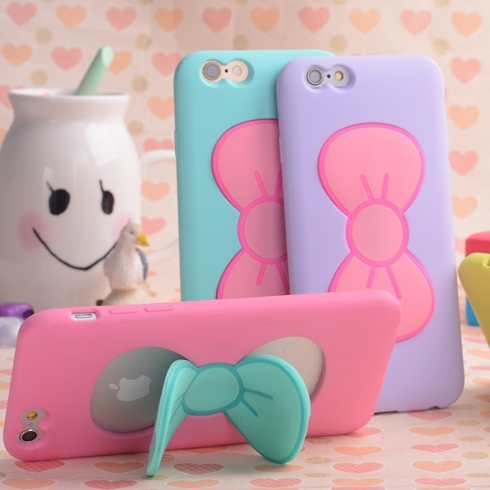 I6/I6 Plus Candy Color Lovely 3D Butterfly Bow Soft TPU Silicon Case For Iphone 6 / 6 Plus Slim Stand Holder Back Cover Capa(China (Mainland))