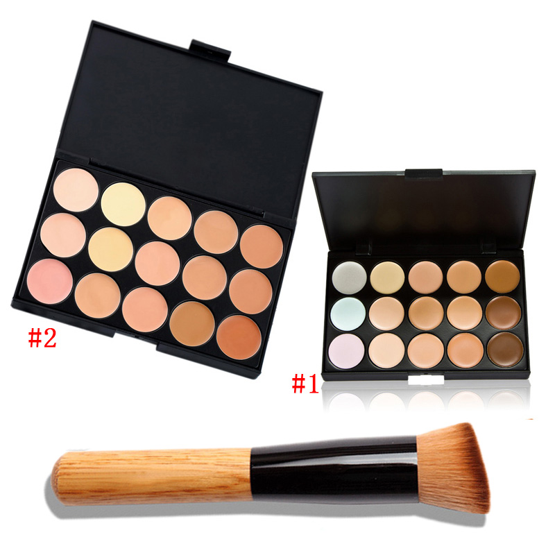 15 Color Fashion Women Professional Makeup Cosmetic Contour Concealer Palette Make Up+Concealer Brush ETS88