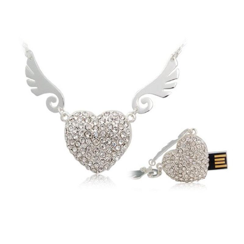 Crystal Angel Heart USB Flash Drive Pen Drive Necklace 4GB 8GB 16GB 32GB 64GB USB 2.0 Memory Stick U Disk(China (Mainland))