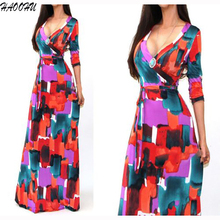 Buy 2016 Autumn New Maxi Women dresses belt Party dresses Sexy V-neck long sleeve Printed Maxi long dresses 973 DX for $14.55 in AliExpress store