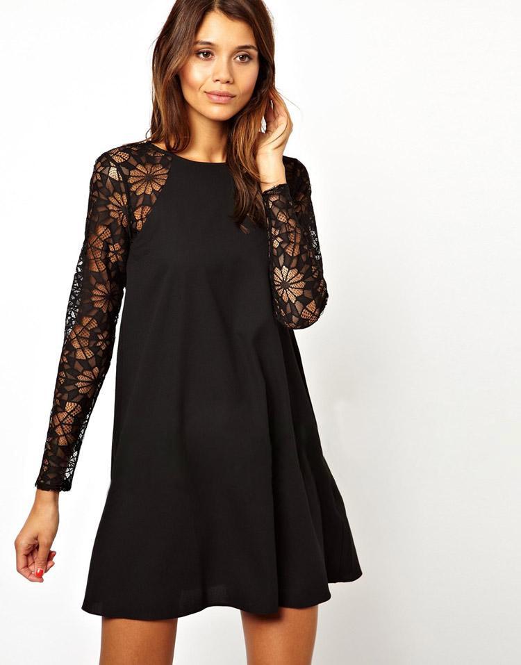 WYN3178 Women Causal Dress 2015 New Spring Long Sleeve Lace Vestidos Chiffon Party Dresses Plus Size Black Sexy Robe(China (Mainland))