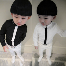 In the spring of 2016 the new version of children's clothing wholesale leisure boy children solid color shirt