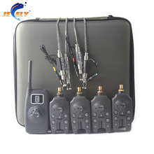 New Arrival JY-58 Wireless Carp Fishing Bite Alarm Set With Illuminated Swingers(4 alarms + 1 receiver + 4 swinger + 4 sinkers)(China (Mainland))