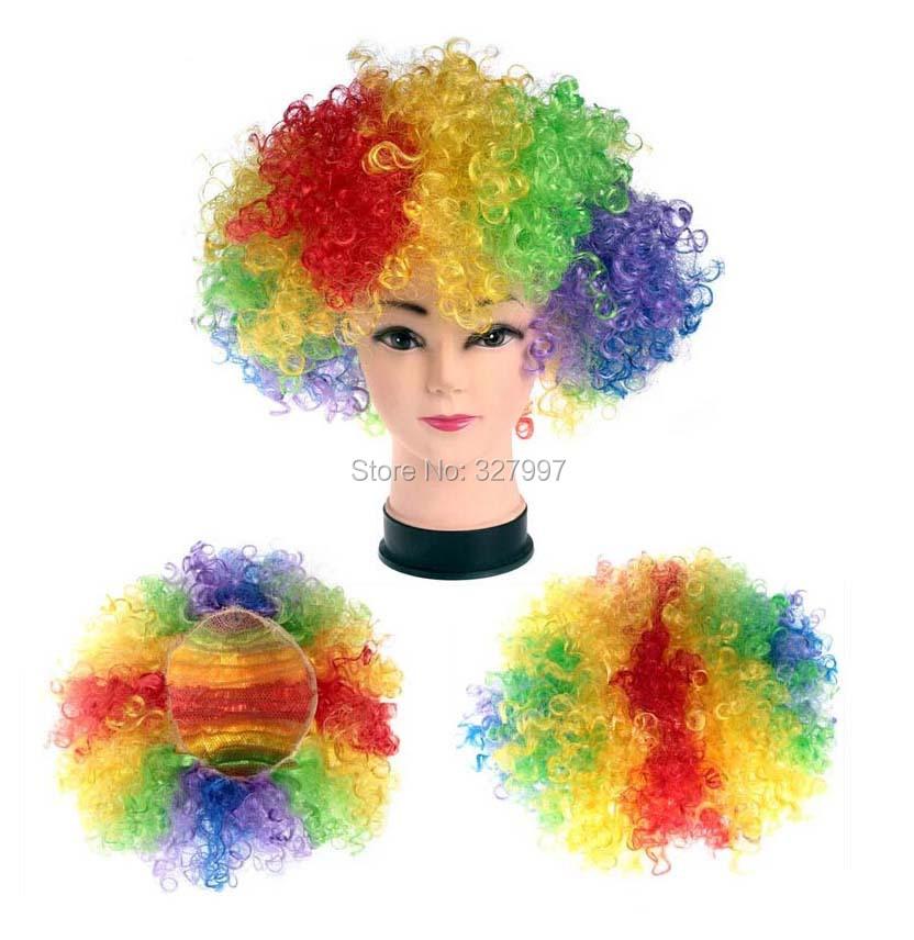 Cosplay de moda Wild Curl up Fans divertido fútbol pelucas para el partido decoración 120 G colorido 15 unids/lote envío gratis(China (Mainland))