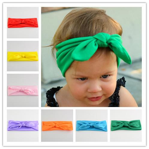 Free Shipping 20pcs / lot 16 colors Boutique Fashion Fabric Cotton Bow Knot  Headbands Girls Bunny Ears Bow  Headwear Accessary(China (Mainland))