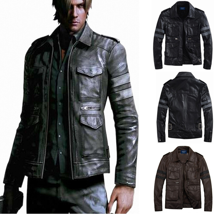 Mens Military Leather Jacket - Jacket