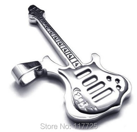 Fashion Jewelry Polished Stainless Steel Guitar Pendant Mens Womens Necklace, Black Send Chain - The King of store