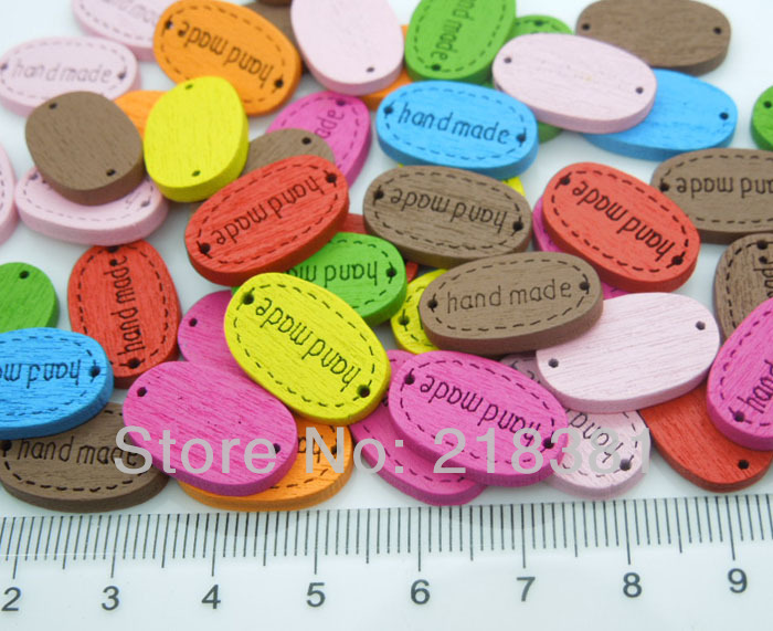 200pcs Mix color Handmade Wood Labels 18mm Sewing Button Engraved Wooden Tags for Kid Clothes,Bracelet Connector,Scrapbooking(China (Mainland))