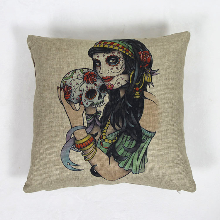 43cm*43cm Home Decor Vintage Cotton Linen Beauty Skull Pillowcase Skull Cushion Cover Pillow Case Pillowcase Sofa/Bed/Car Covers(China (Mainland))