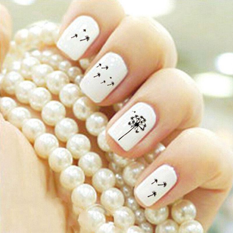 2 Sheet Nail Art Stickers Nail Decals Tags Water Transfer DIY Decorations Nail Accessories Dandelion Nail 9*6.5cm(China (Mainland))