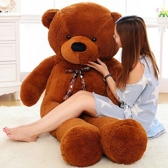 [5COLORS] 2m Giant teddy bear huge plush stuffed toy brown white toys embrace kid baby doll birthday valentine gift girls lovers(China (Mainland))