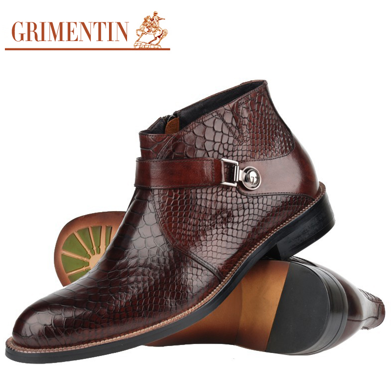 GRIMENTIN fashion classic crocodile mens ankle boots genuine leather zip cowboy style luxury men dress shoes for business size11(China (Mainland))