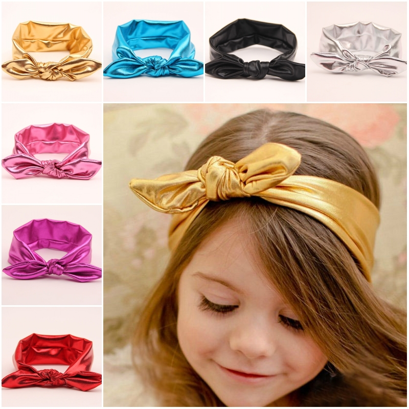 metal color leather top knot headband baby girl hair wrap bands bunny rabbit ears turban headband turbante headwraps accessories(China (Mainland))