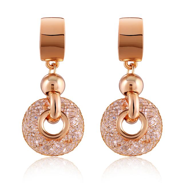 Bamoer бренд класса люкс золотые сеткой в кристалл 18 К позолоченные серьги женская мода ювелирных изделий циркон мотаться серьги SDRE019