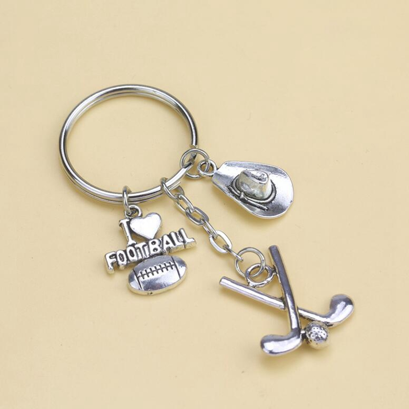New Fashion Jewelry 10pcs Golf Football Keyring Charm Tibetan Silver Cowboy Hat Key Chain Gift 76X28mm S6589(China (Mainland))