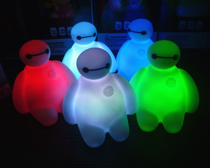 [buy 2 get 1 free!!!]Big Hero New Colors Changing 6 LED Night Light Brand Creative Cartoon Decoration Lamp ,great gift for kids(China (Mainland))