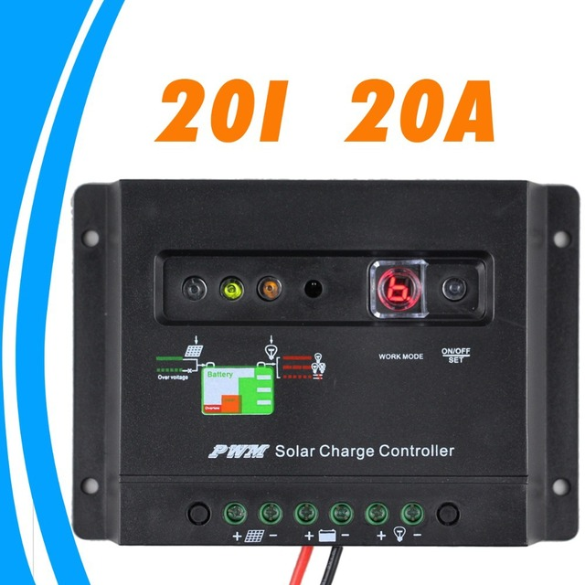 20A Solar panel charger Controller 12V solar controller Regulator LED indicator battery charging status 1 key setting timer