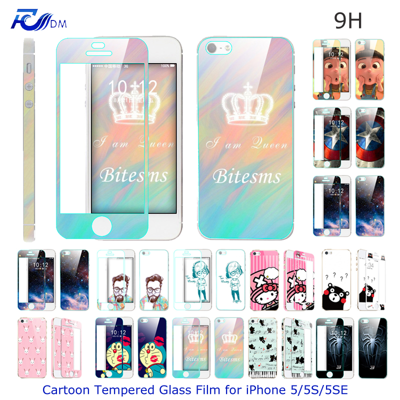 FDM Ultra Thin Cartoon Tempered Glass Film for iPhone 5 5S 5SE Explosion proof font b