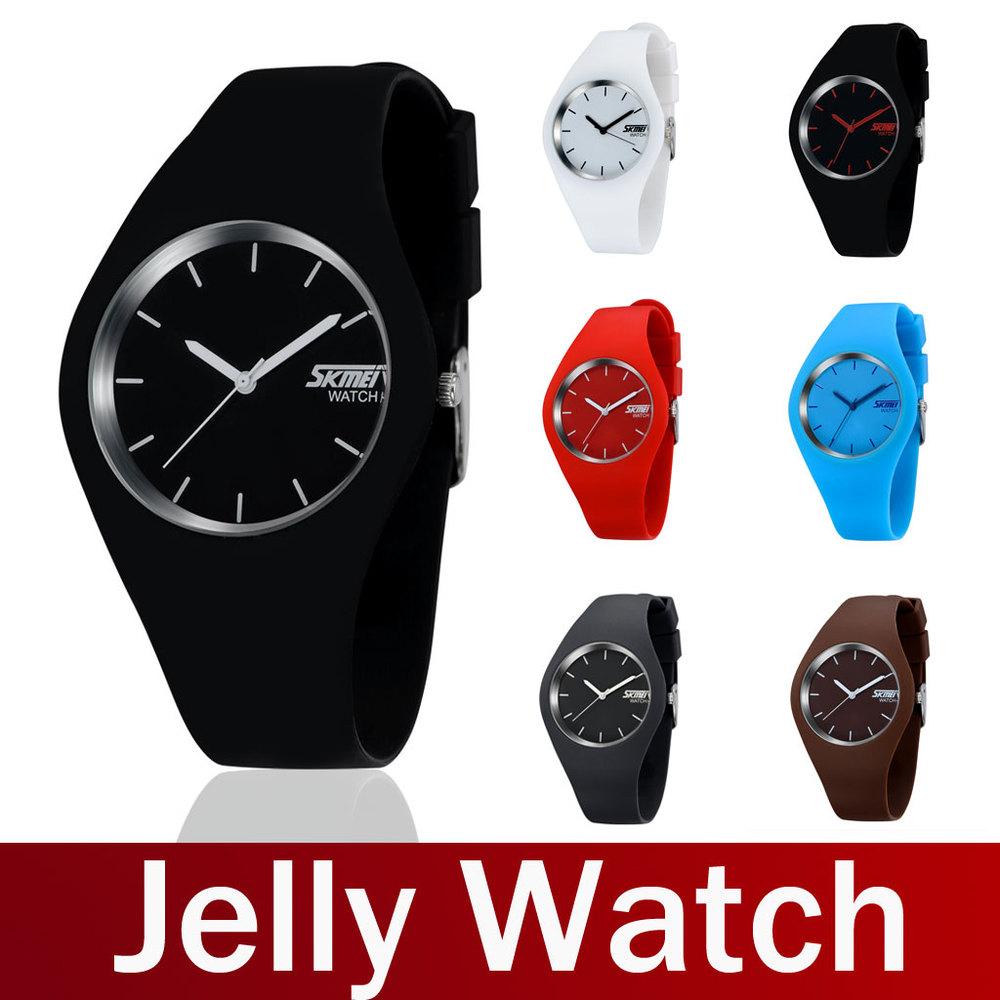2015 Newest Fashion Brand Women Colorful Jelly Watch Men Casual Silicone Band Quartz Watch Wristwatch 10M