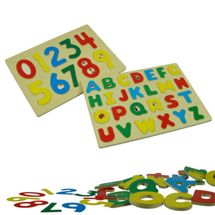 Alphabet Letter & Number Peg Board,2pcs, Child Educational Gift Wooden Toys,(China (Mainland))