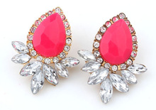 Wholesale Hot Sell women Jewelry 2016 Good Quality 5 Color Fashion Vintage Crystal Stud Earring For Women Statement Earrings(China (Mainland))