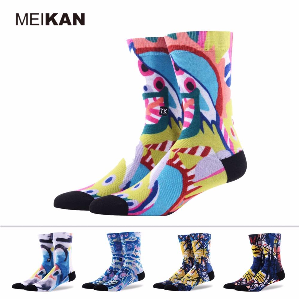 3D Fashion Socks Coolmax MEIKAN Brand Colorful Printed Sox Nonslip Meias Cartoon Calcetines Compression Sports Cycling Socks(China (Mainland))