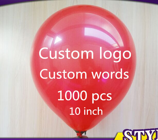 1000 pcs 1.6g Personalized custom Balloons Logo/Words Free Design Free Print 10 inch Latex Balloons For Party/Event(China (Mainland))