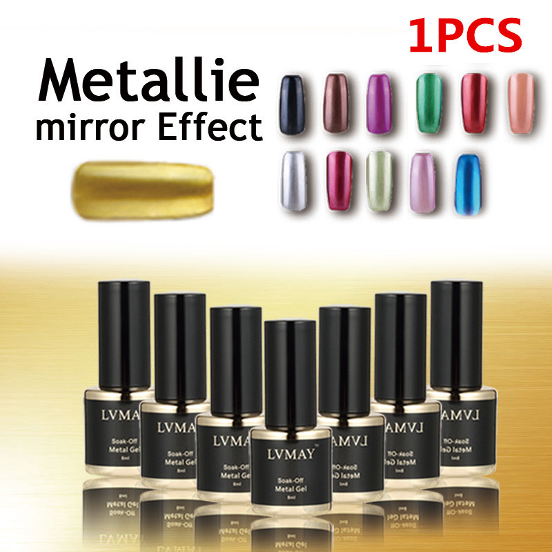 2015 New arrival Metallic Nail Gel Polish UV gel esmalte Baeute Mirror Effect for nails gelpolish Art Set Choose any 1 colors(China (Mainland))