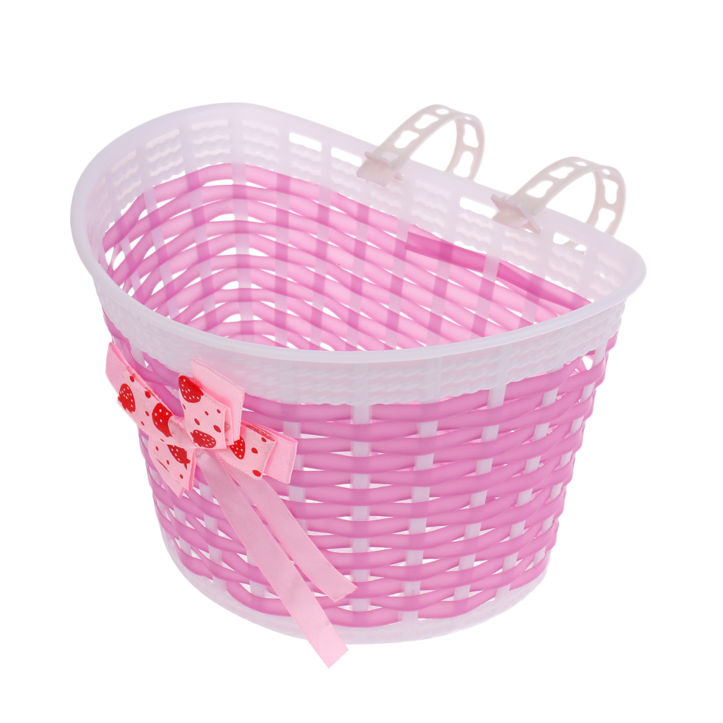 Bike Bicycle Front Basket Shopping Stabilizers for Children Kids Girls Pink