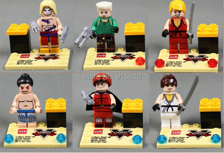 Chlidren s DIY toys Street fighter building blocks set font b anime b font action figures