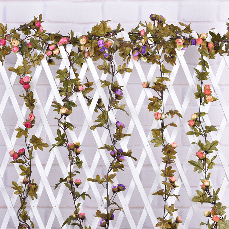 Artificial Fake Silk Rose Flower Vine Hanging Garland Wedding Home Decor Decorative Flowers & Wreaths 220cm Wedding decoration(China (Mainland))