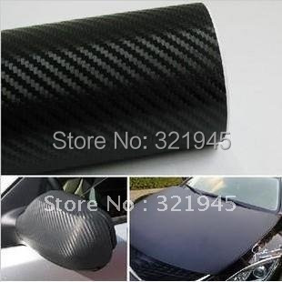 30cm x127cm 3D Carbon Fiber Vinyl Sticker Black Sheet for All Car Tablet Laptop Refrigerator Free Shipping(China (Mainland))