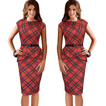Summer Lady Vintage Tartan Red New Fitted Dress O-Neck Sleeveless Belt Peplum Casual Zipper Pencil Dress With Belt