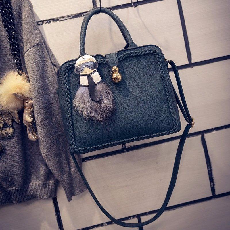 Designer PU Leather Handbag Cute Cartoon Ornament Knitting Edges Women Fashion Trendy Small Bag Ladies Simple Shoulder Bag